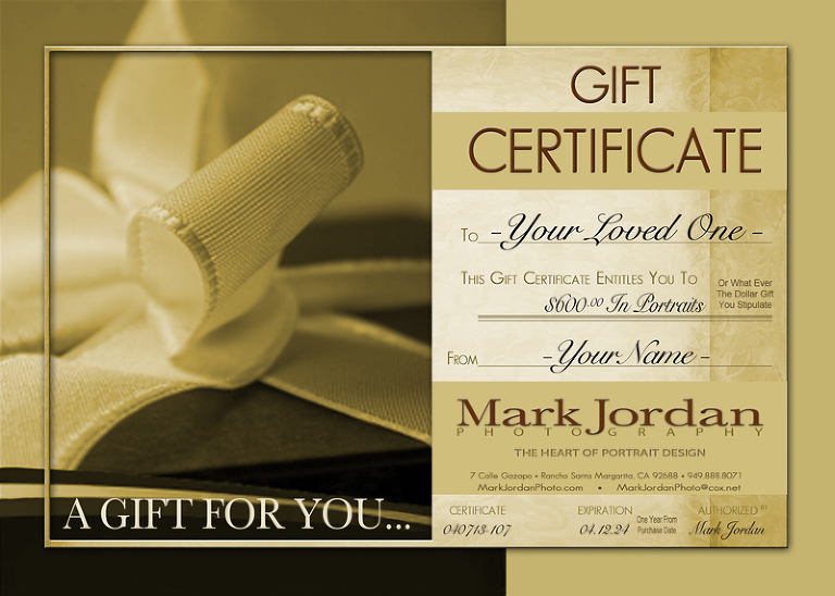 Portrait Gift Certificate by Orange County Family Portraits Photographer